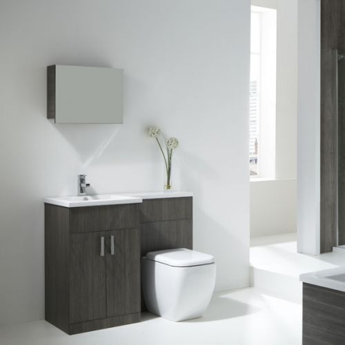 Aquatrend Petite Avola Grey Furniture Pack with Metro BTW WC - LH Shown