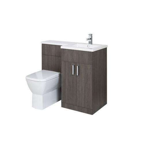 Aquatrend Petite Avola Grey Furniture Pack with Summit BTW WC - RH Shown