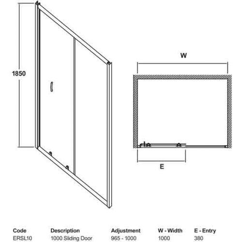 Ella 1000mm Sliding Shower Door Tech Drawing