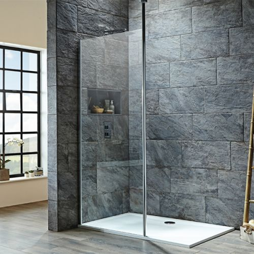 Shield i8 Wetroom Screens With Floor To Ceiling Post