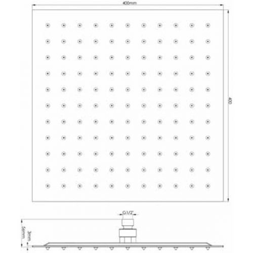 Hudson Reed 400mm Square Fixed Shower Head Technical Image