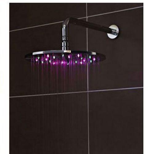 LED shower head purple and green light