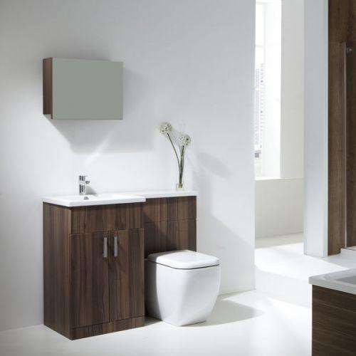 Aquatrend Petite Walnut Finish Furniture Pack with Metro BTW WC - LH Shown