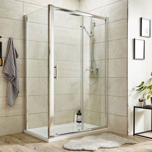 Pacific sliding shower door shown with a matching Pacific side panel