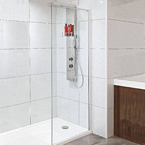 Walkin Shower Tray Shown with Phoenix Techno Shower Enclosure