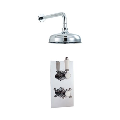 Phoenix Twin Concealed Thermostatic Shower Valve With Traditional Fixed Head