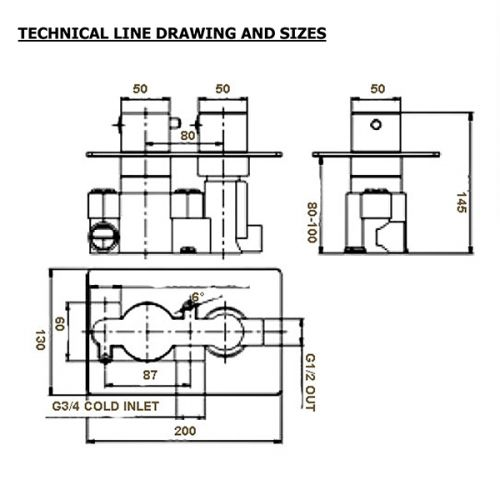 Traditional Twin Shower Valve Technical Drawing