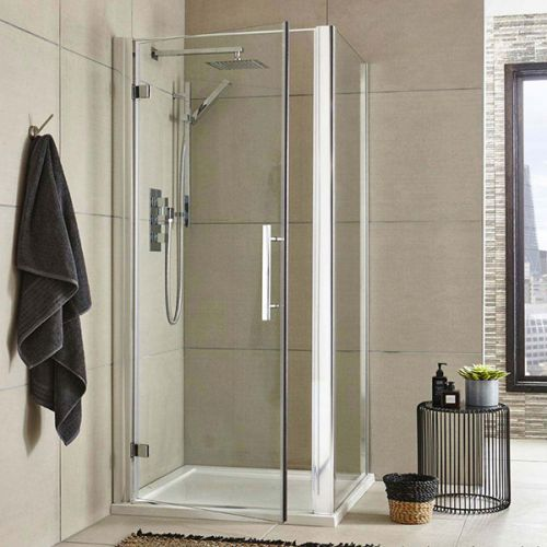 Apex Hinged Easy Assemble Shower Door With Side Panel