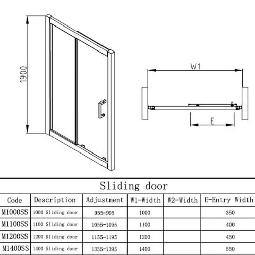 Apex EasyFit sliding door technical drawing for all sizes