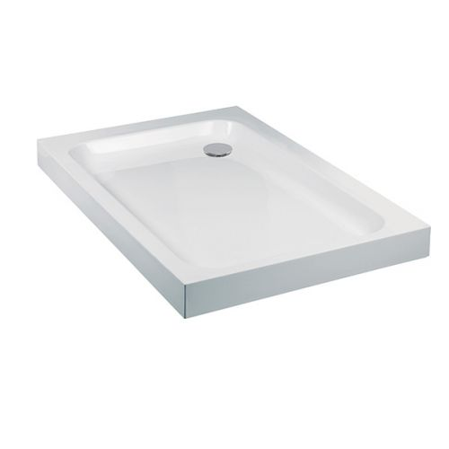 Aquaglass deep shower tray 80mm in height, shown with a corner 50mm waste constructed from stone resin