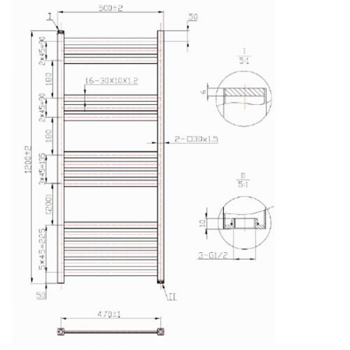 Davine Towel Radiator 1200x500mm Specification