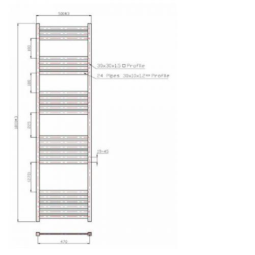 Davine Towel Radiator 1800x500mm Specification