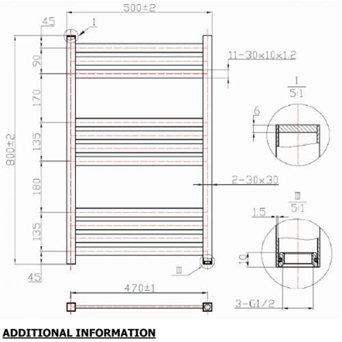 Davine Towel Radiator 800x500mm Specification