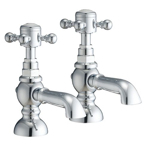 Harrogate Pair Of Traditional Basin Taps In Chrome