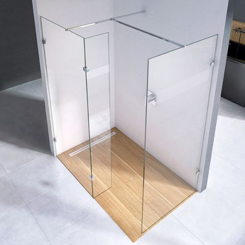 i10 Wetroom panel configuration with main panel, side panel & deflector panel