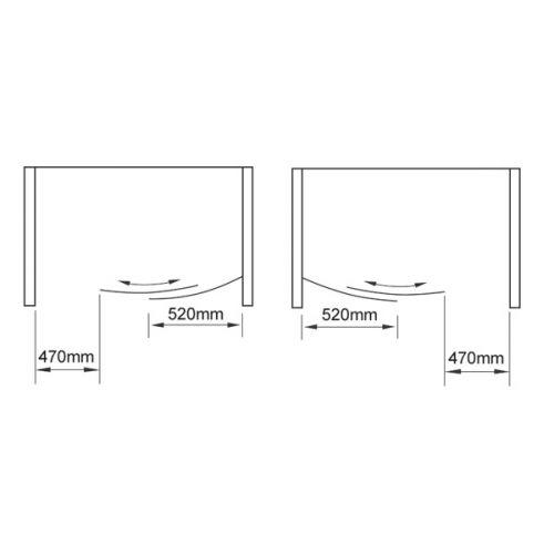 Identit2 Bow Sliding Shower Door Opening Diagram