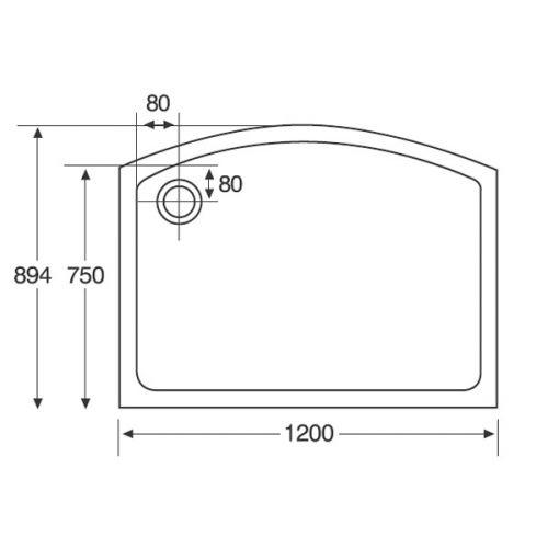 Identit2 Bow Sliding Shower Tray Diagram