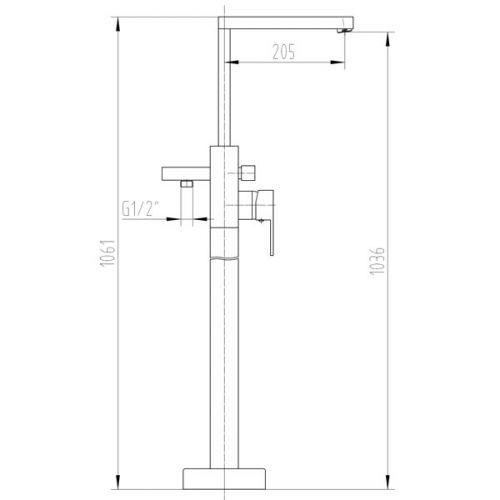 Aquatrend IXOS Freestanding Tap Technical Drawing