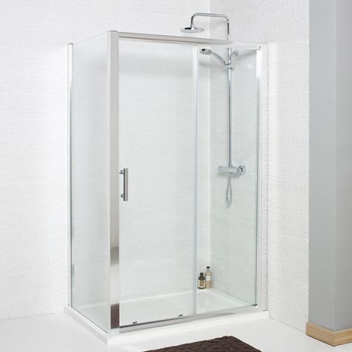 KVIT sliding shower door with frameless side panel