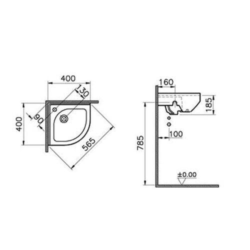 40cm Corner basin by Vitra technical drawing