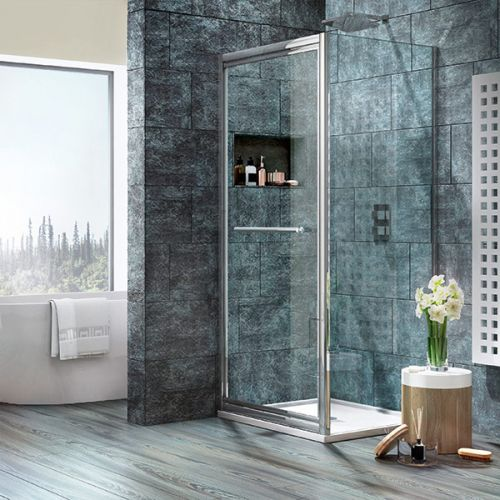 Shield VIII Infolding shower door shown with a side panel