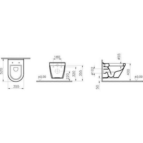 Vitra S50 Wall Hung WC Pan Technical Drawing