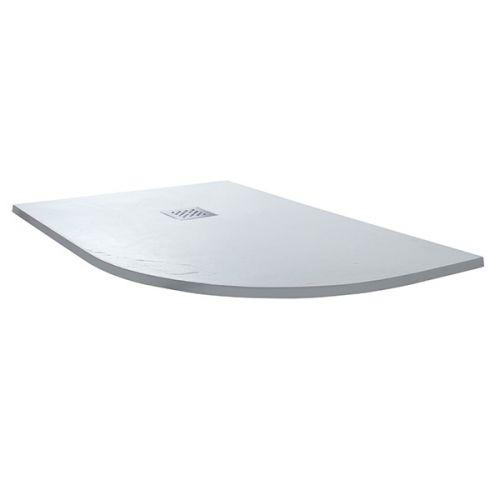 White slate offset quadrant shower tray