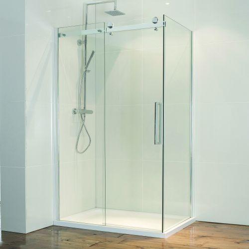 Aquaglass frameless sliding shower door