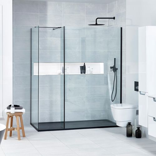 L shape black profile shower screen configuration