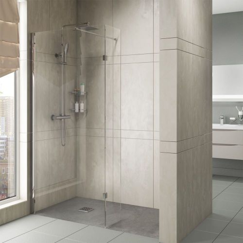 Aquatech Marna wetroom screens shown in an alcove
