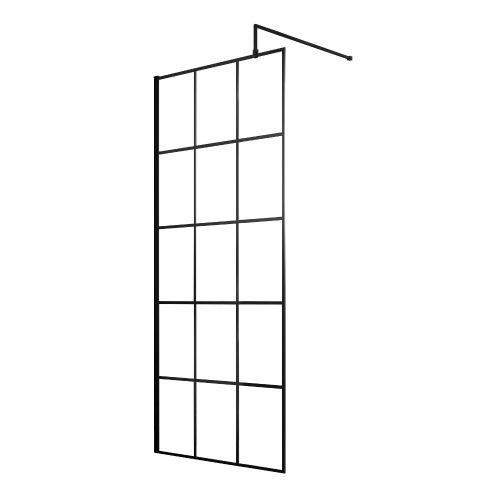 Hudson Reed Black Frame Wetroom Screen and bracing bar
