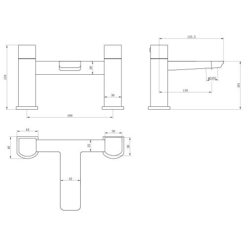 Scudo BLACK242 bath filler technical drawing