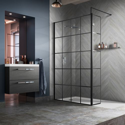 Hudson Reed Black Frame Wetroom Screen with hinged return panel