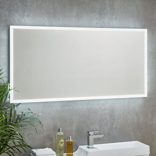 Horizontally mounted Mosca LED mirror with shaver socket and infrared sensor