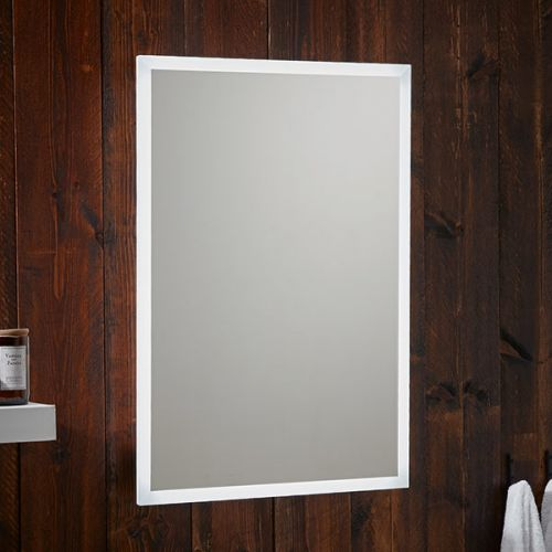 Shield 500x700mm heated bathroom mirror in a bathroom setting