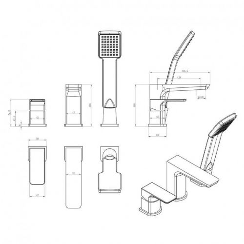 Scudo Muro 3 Hole Bath Mixer Taps with Shower Handset technical diagram