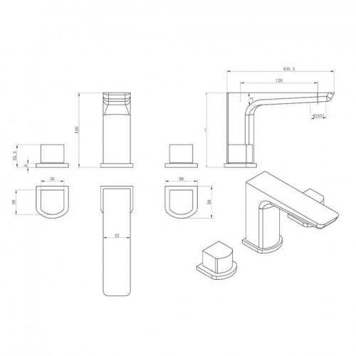 Scudo Muro 3 Hole Basin Mixer Tap Technical Diagram