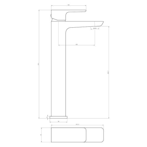 Scudo Muro tall basin mixer tap technical diagram