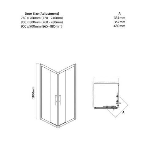 Pacific corner door shower enclosure