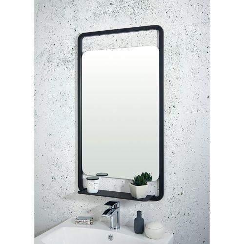 Shield Mono Black Bathroom Mirror with Shelf 500x900mm