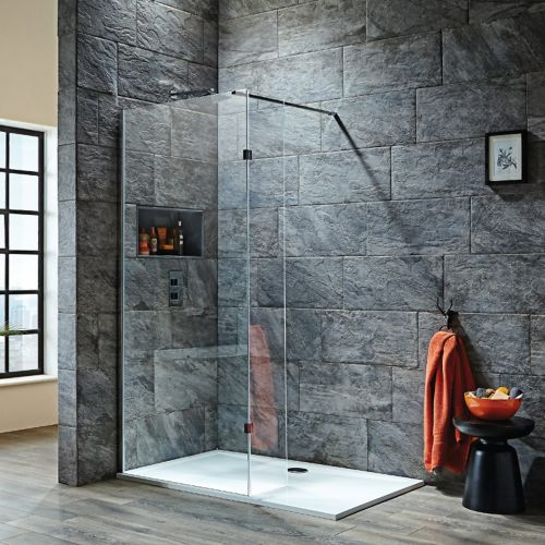 Shield S8 wetroom shower screen with hinged return panel