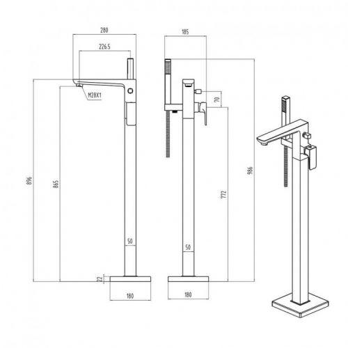 Scudo Muro TAP240 freestanding bath tap technical diagram