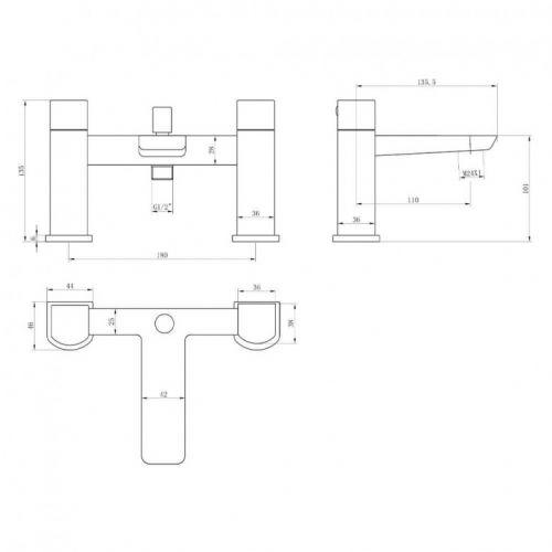 Scudo Muro bath Shower Mixer Technical Diagram