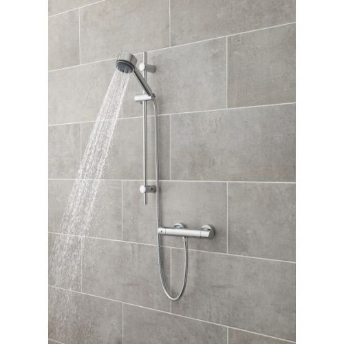 Cool touch shower valve used with a slide rail kit