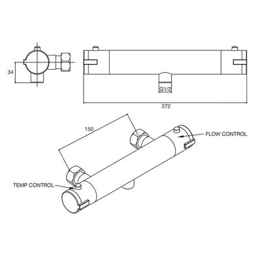Technical drawing for the VBS022 cold touch thermo valve