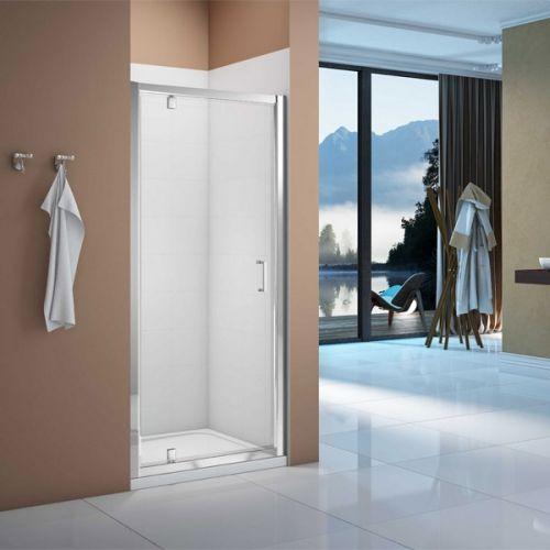 Merlyn Vivid Boost Pivot Shower Door shown in a recess