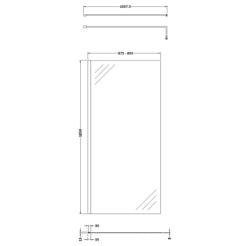 Pacific 900mm Screen technical drawing