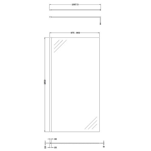 Pacific 1000mm screen technical drawing