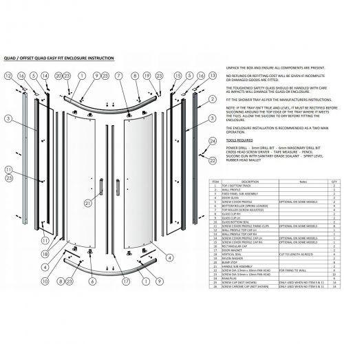 Parts list for Hudson Reed Apex quadrant