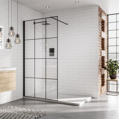 Matrix 8mm black frame walk in shower screen